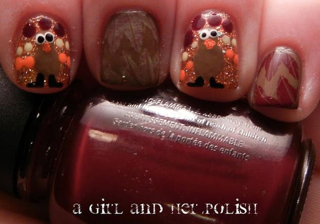 Glitter Turkey Nails