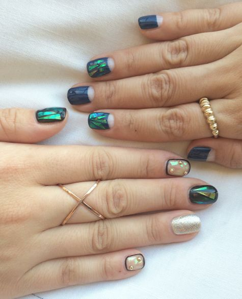 Green and White Glass Nails