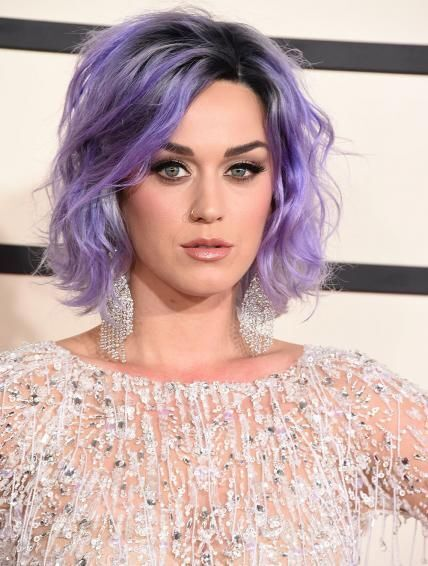 Katy Perry Short Bob Hairstyle for Purple Hair