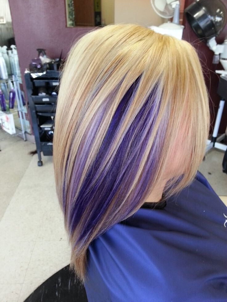 Mid-Length Blond Straight Hair with Purple Highlights