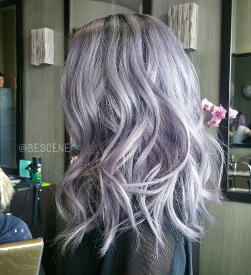 Medium Wavy Hairstyle for Purple Hair