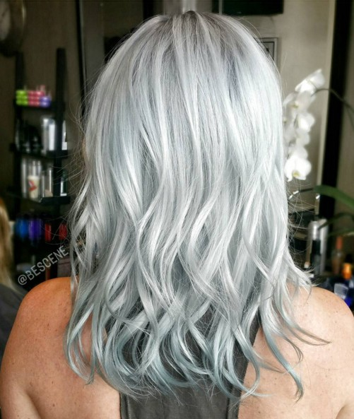 Medium Wavy Hairstyle for Silver Grey Hair