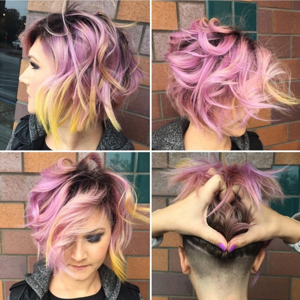 Messy Bob Haircut for Purple Hair