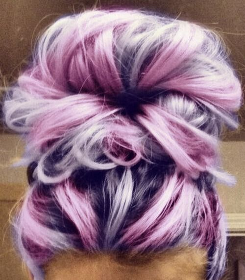 Messy Top Bun Hairstyle for Purple Hair