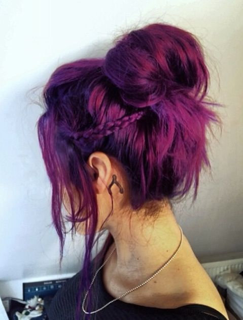 Messy Bun Hairstyle with Braid