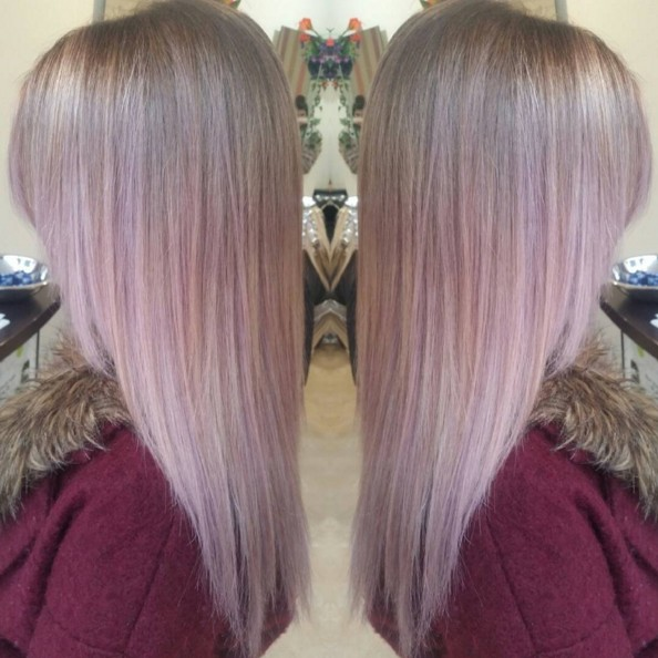 Pink Straight Ombre Hairstyle