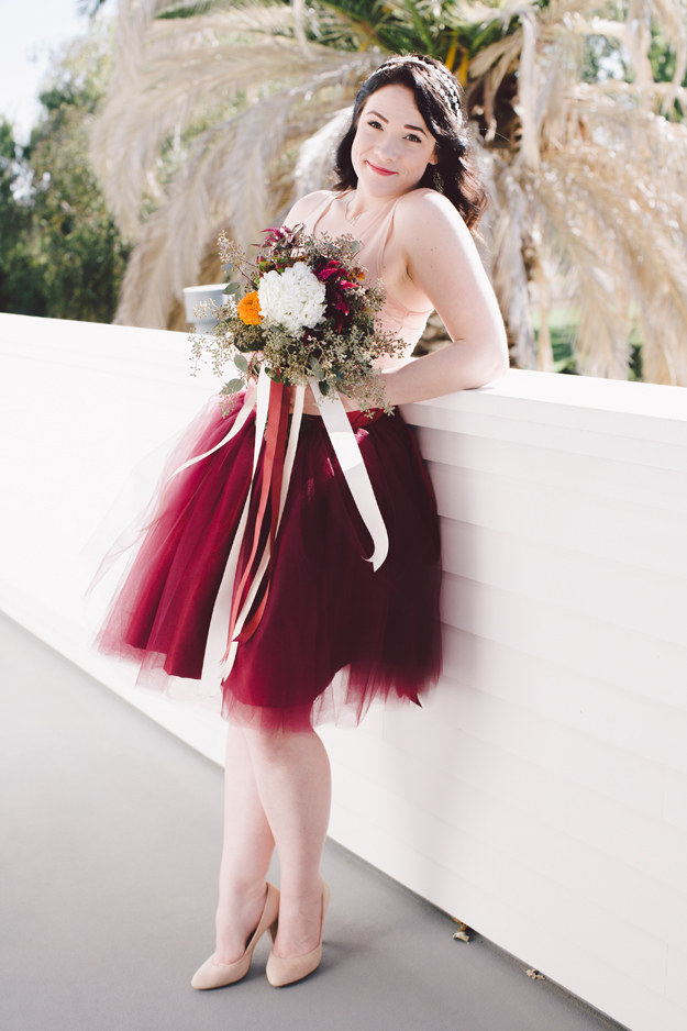 Pink and Wine Red Tulle Skirt