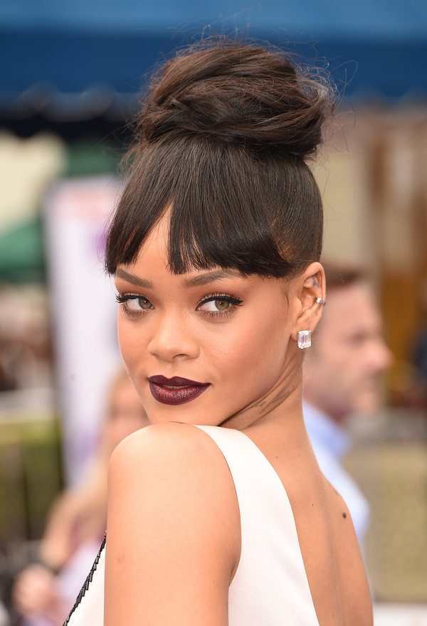 20 glamorous updo hairstyles that approved by celebrities pretty rihanna top updo hairstyle with bangs rihanna pmusecretfo Images