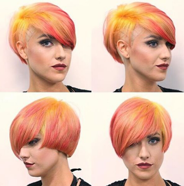 Short Layered Hairstyle for Rainbow Hair