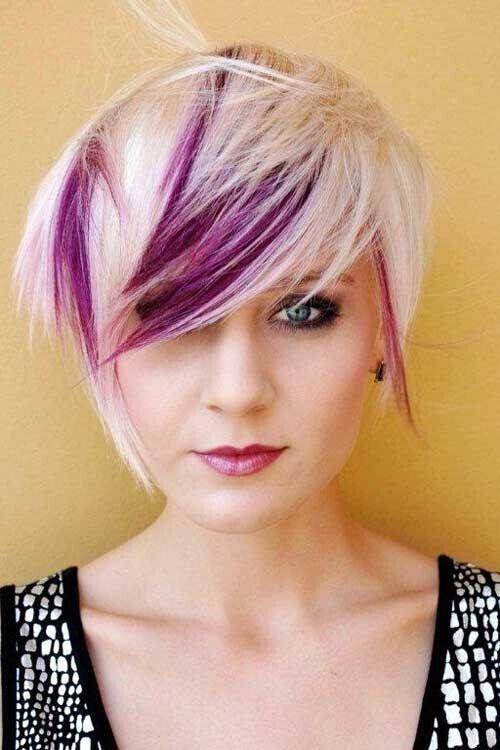 Short Shaggy Haircut for Blond Purple Hair