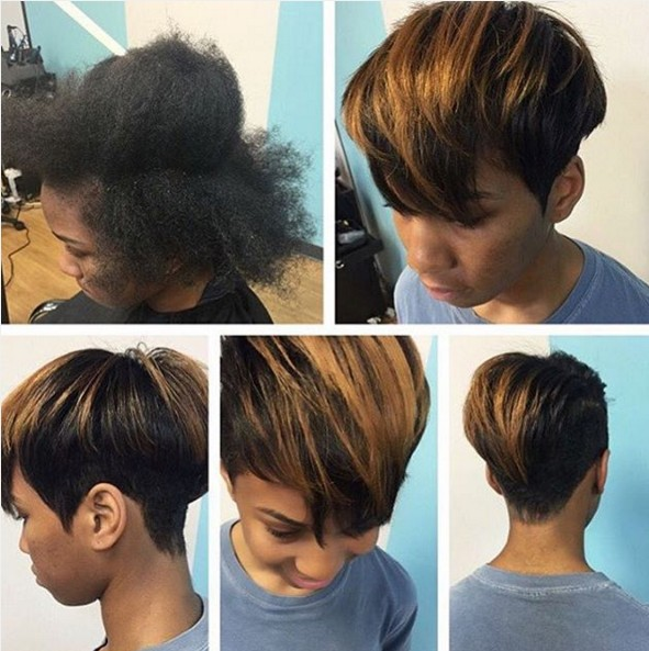 Short Straight Haircut with Blond Highlights