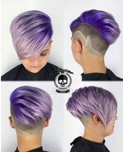 Short Undercut Hairstyle for Purple Hair