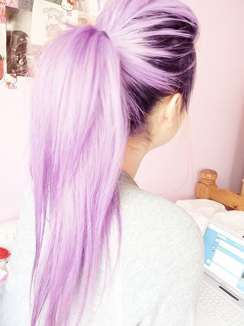 Simple Ponytail Hairstyle for Purple Hair