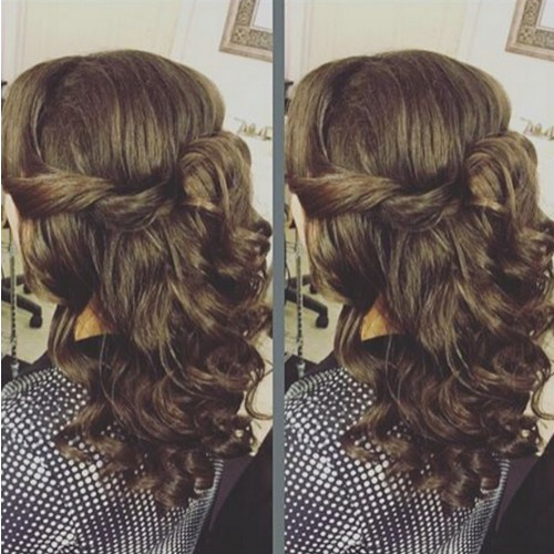 Twisted Half Up Hairstyle for Mid-Length Hair