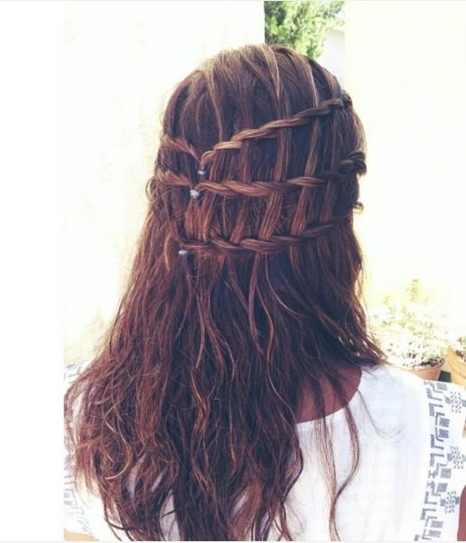 Waterfall Braid Half Up Half Down Hair