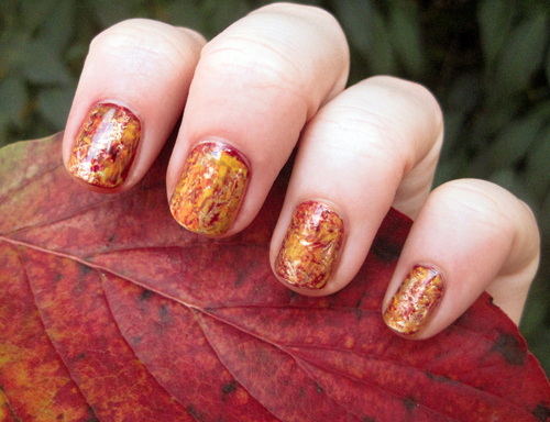 Yellow and Red Nails
