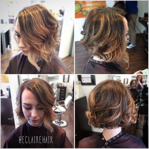 Asymmetrical Wavy Bob hairstyle for women