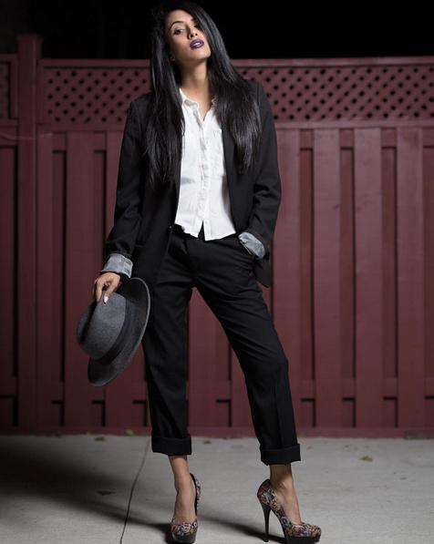 Black Suit and Floral Heels