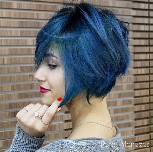 Blue Colored Bob Hairstyle