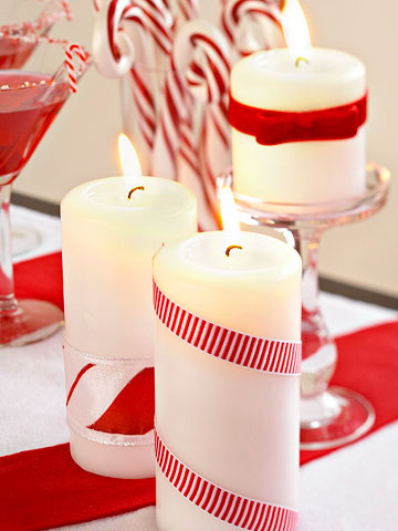 Candles with Red and White Ribbons