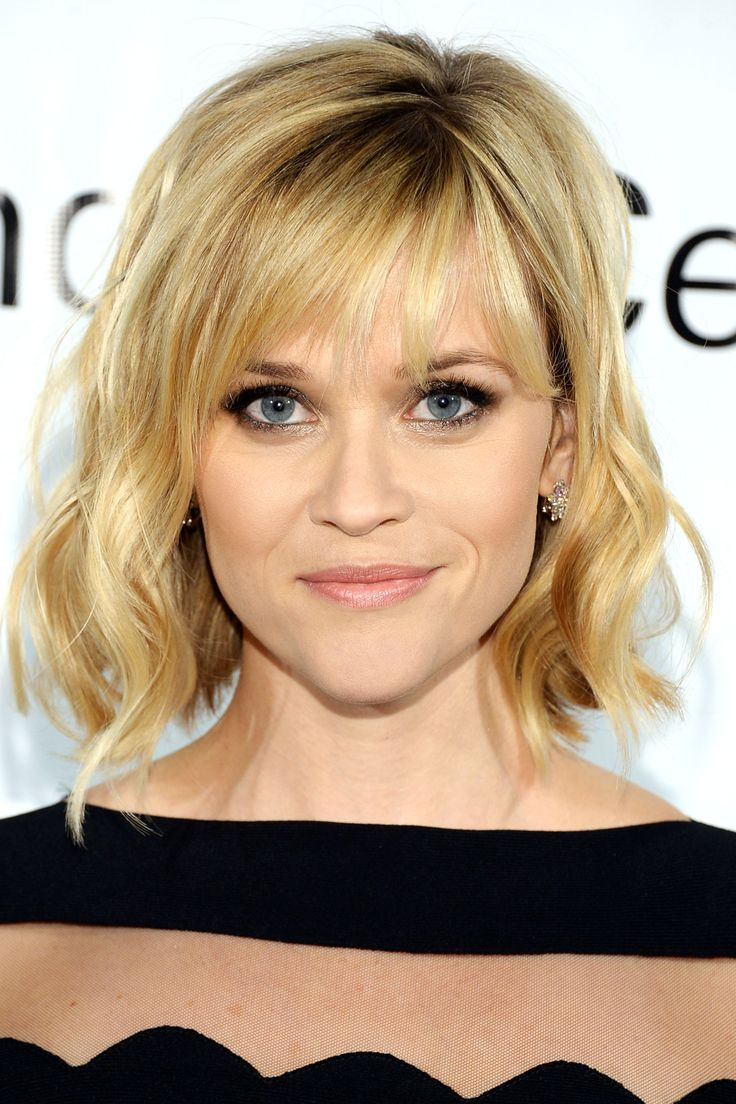 Celebrity wavy bob hairstyle with bangs