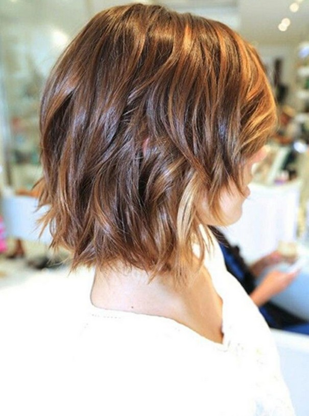 Cute short bob hairstyle with waves