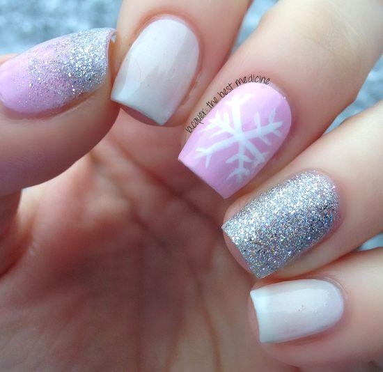 Delicate Snowflake Manicure