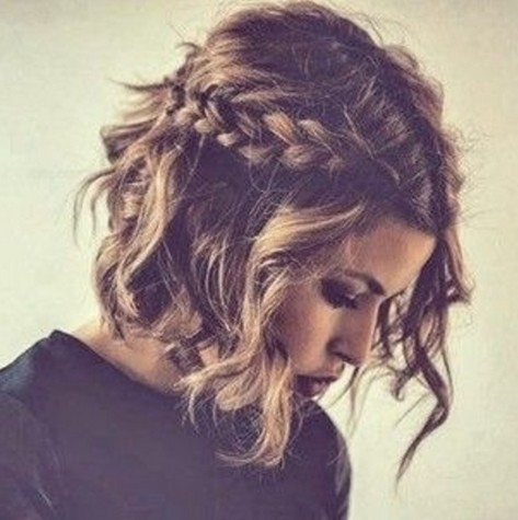 Easy braided wavy bob hairstyle