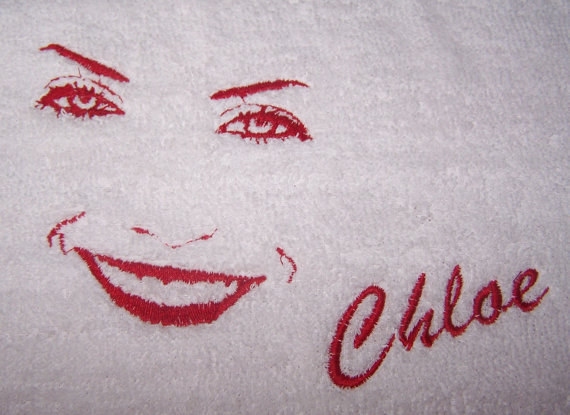 Embroidered Face Bath Towel