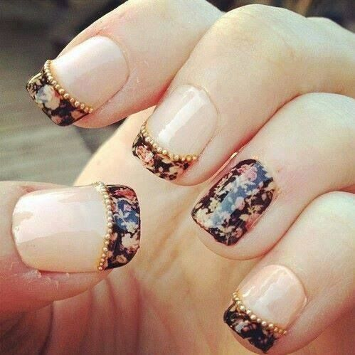 Floral Nails with Pearls