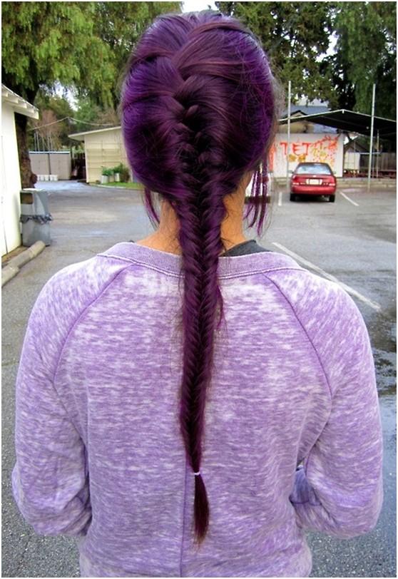 French Fishtail Braid for Purple Hair