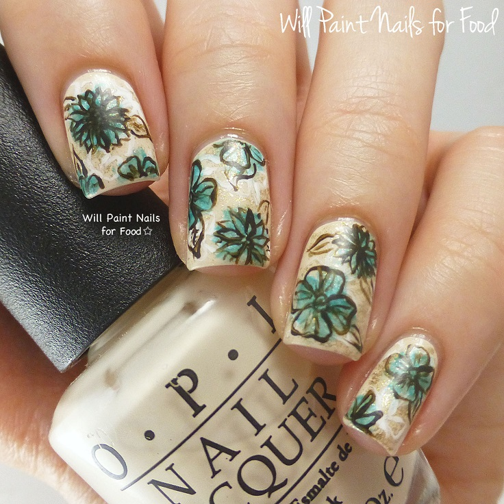 Gold Nails with Green Flowers