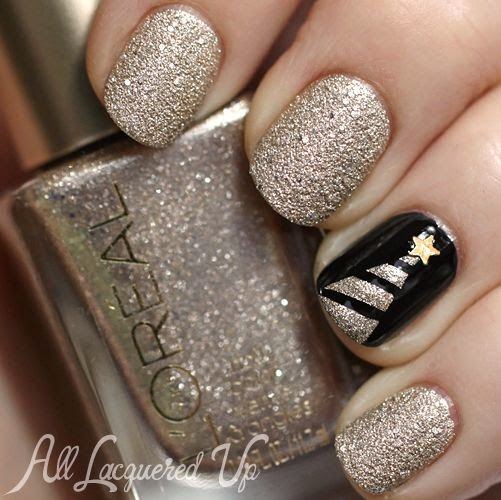Golden and Black Nails
