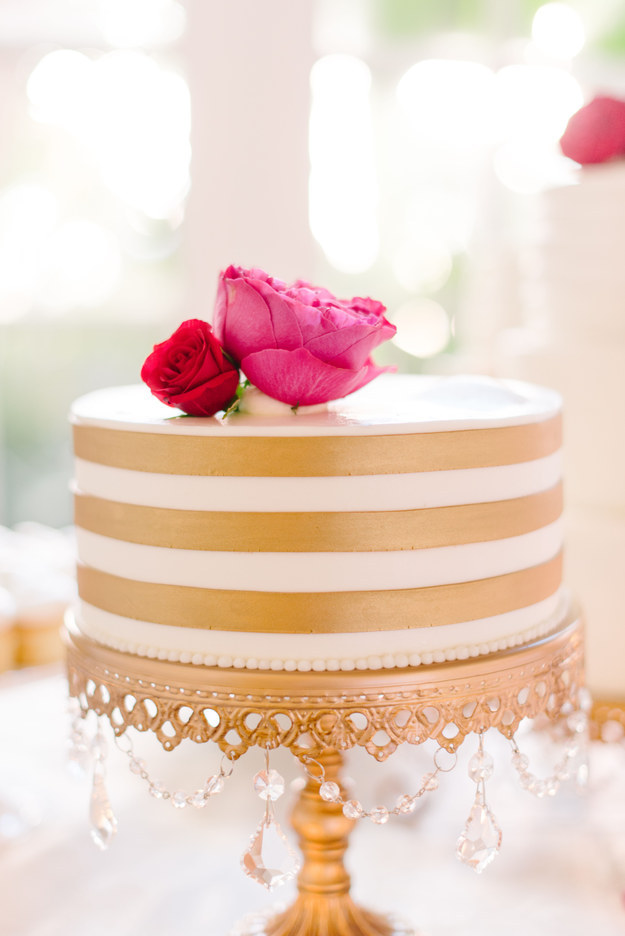 Golden and White Cake