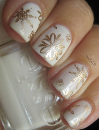 Golden and White Nails