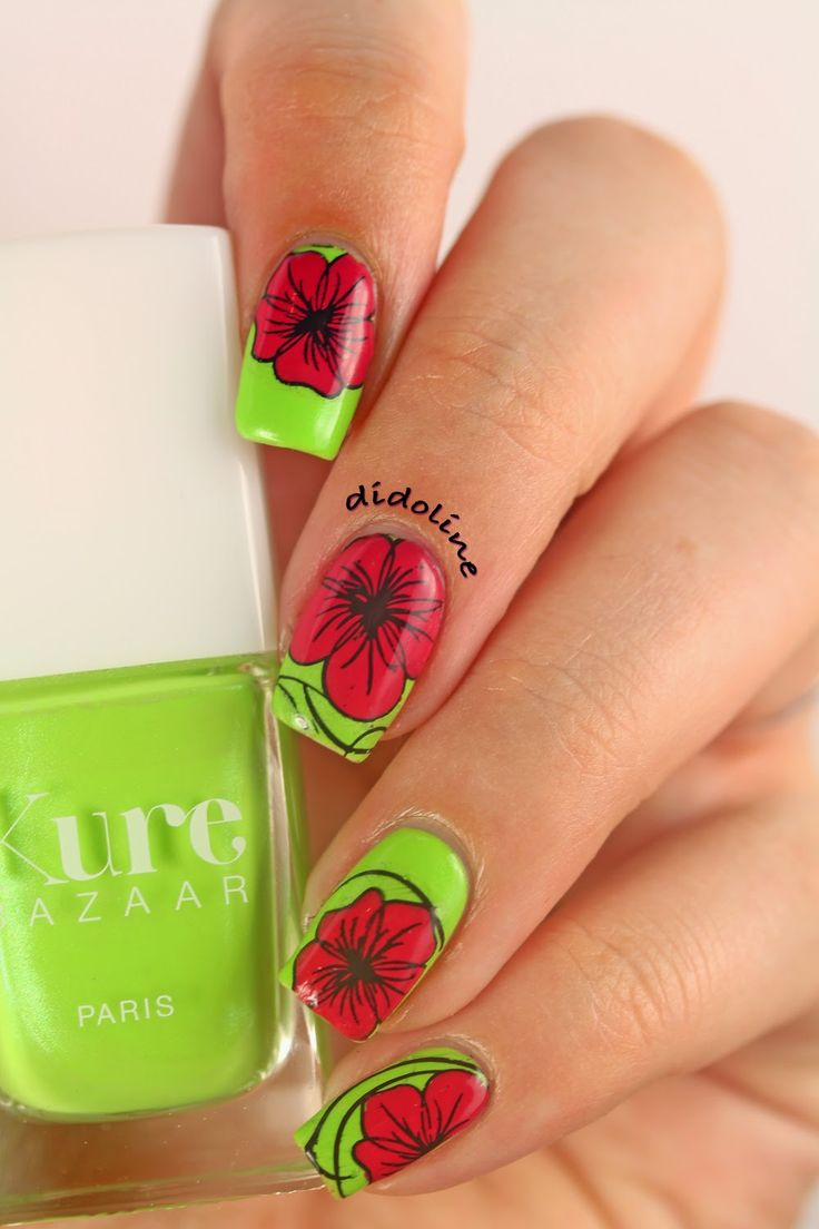 Green Nails with Red Flowers