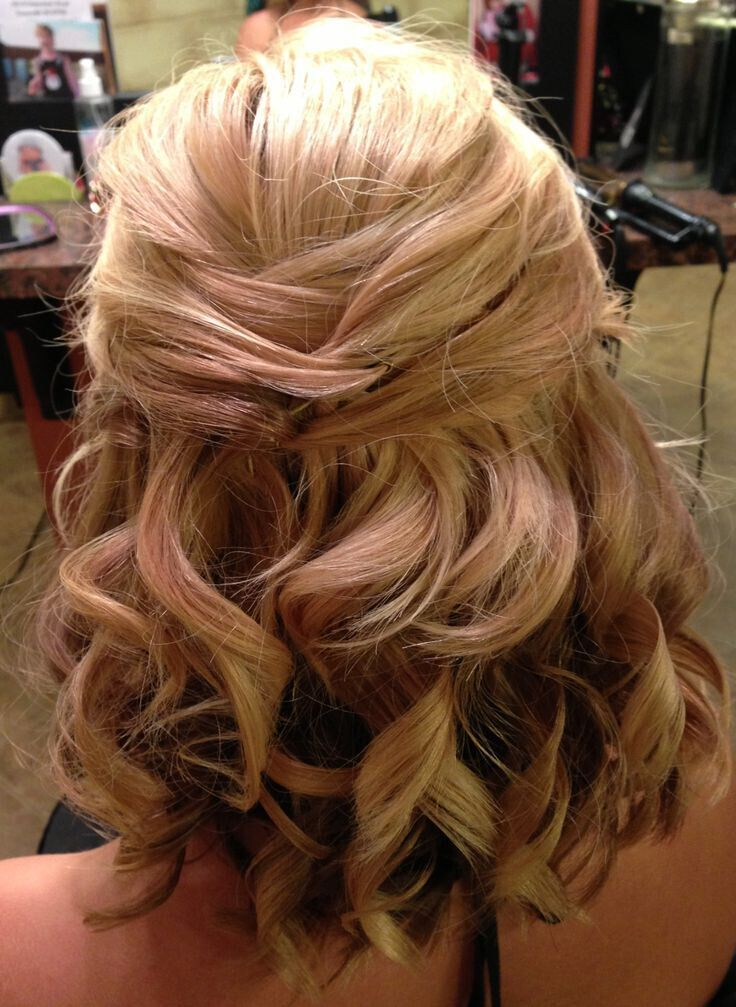 Half Up Wedding Hairdo for Medium Curly Hair