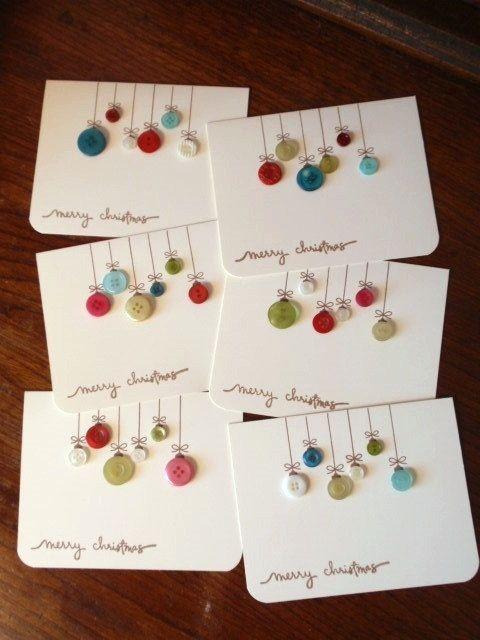 Homemade Button Christmas Cards