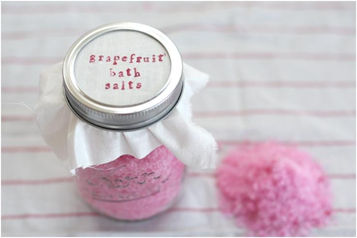 Homemade Grapefruit Bath Salts