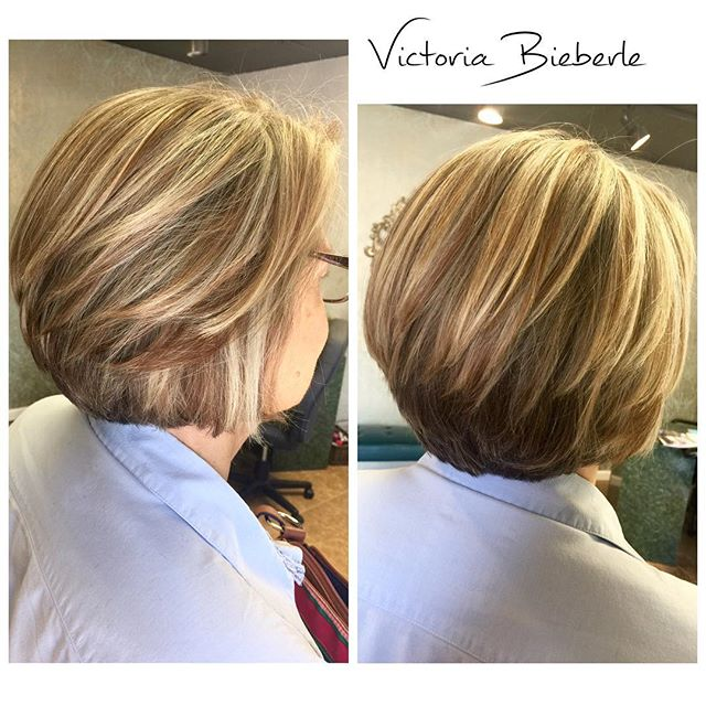 Layered Stacked Bob Hairstyle for women over 50