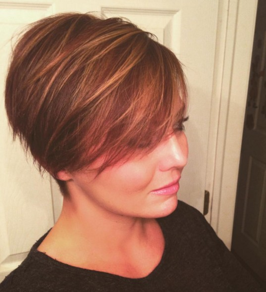 Long Pixie Hairstyle with Highlights
