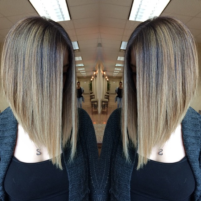 Long Straight Inverted Bob Hairstyles