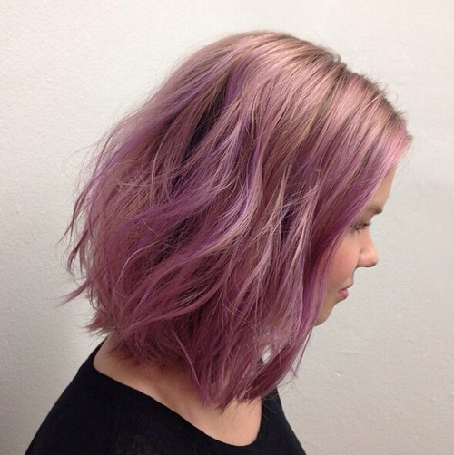 Long Wavy Bob Hairstyle for Purple Hair