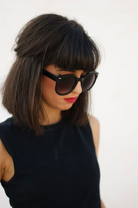 Medium Bob Hairstyle with Blunt Bangs