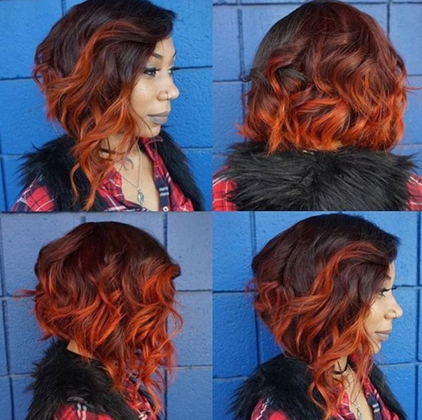 Medium Wavy Hairstyle for Red Ombre Hair