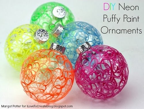 Neon Puffy Paint Ornaments