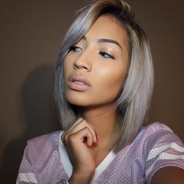 Ombre Silver Grey Short straight bob cut for thin hair