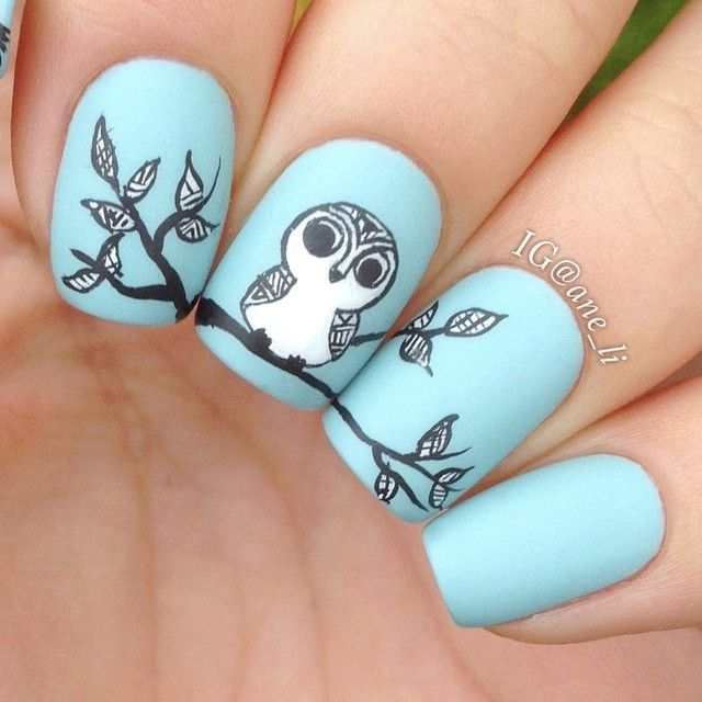 Owl Pastel Nails