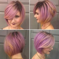 Pink Purple Colored Bob Hairstyle