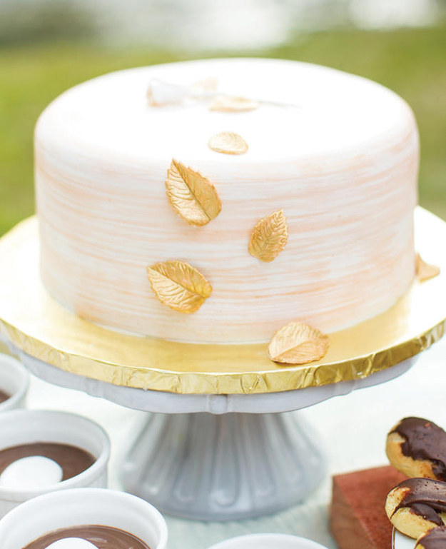 Pretty Cake with Gold Leaves
